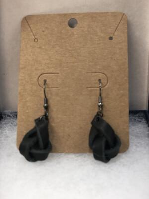 Black Knot Leather Earrings