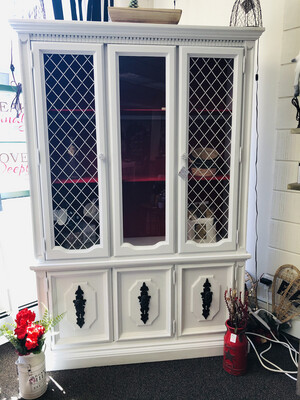 """(651) country white with farmhouse red hutch 50""""x77"""""""