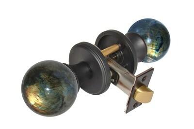 Gemstone Hardware Door Knob Labradorite Matte Black Pull (Dummy)