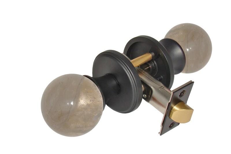Gemstone Hardware Door Knob Smokey Quartz Matte Black Privacy 2-3/4