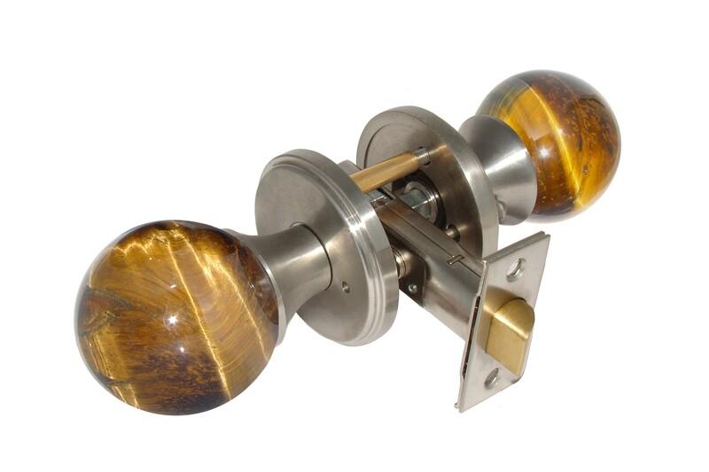 Gemstone Hardware Door Knob Tiger Eye Satin Stainless Steel Privacy 2-3/8