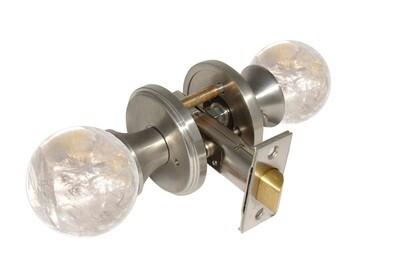 Gemstone Hardware Door Knob Crystal Quartz Satin Stainless Steel Passage 2-3/8