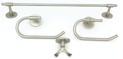 Deco & Deco Decorative Four Piece Bathroom Accesory Set Solid Brass Round Base Polished Chrome