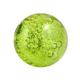 Charleston Knob Company  CRYSTAL BUBBLE GLASS GREEN ROUND CABINET KNOB