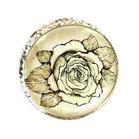 Charleston Knob Company  RETRO WHITEWASHED METAL ROSE CABINET KNOB