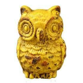 Charleston Knob Company  VINTAGE YELLOW OWL CABINET KNOB 2