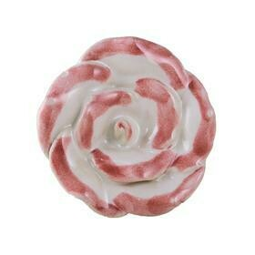 Charleston Knob Company  VINTAGE PINK AND WHITE CERAMIC FLOWER CABINET KNOB
