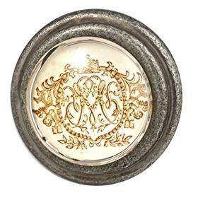 Charleston Knob Company  GOLD REGAL EMBLEM BURNISHED SILVER CABINET KNOB
