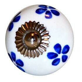 Charleston Knob Company  BLUE FLORAL AND WHITE CERAMIC COTTAGE CABINET KNOB