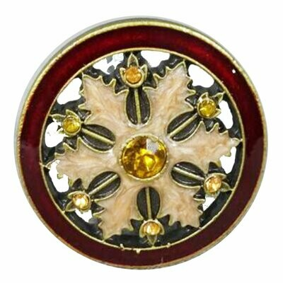 Charleston Knob Company  GOLD AND RUBY WHEEL CLOISONNE JEWEL CABINET KNOB
