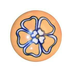 Charleston Knob Company  CERAMIC CHIC YELLOW FLORAL DESIGN  CABINET KNOB