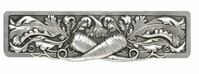 Notting Hill Cabinet Pull Leafy Carrot Brilliant Pewter 4-7/8