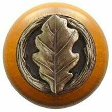 Notting Hill Cabinet Knob Oak Leaf/Maple Antique Brass 1-1/2