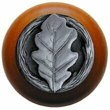 Notting Hill Cabinet Knob Oak Leaf/Cherry Antique Pewter 1-1/2