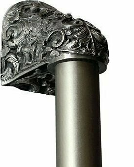 Notting Hill Cabinet Hardware Acanthus/Plain Bar Antique Pewter Overall 14