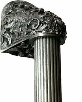 Notting Hill Cabinet Hardware Acanthus/Fluted Bar Antique Pewter Overall 12