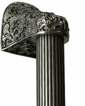 Notting Hill Cabinet Hardware Florid Leaves/Fluted Bar Satin Nickel Overall 14