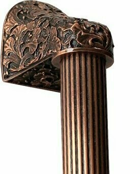Notting Hill Cabinet Hardware Florid Leaves/Fluted Bar Antique Copper Overall 14