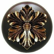 Notting Hill Cabinet Knob Opulent Flower/Dark Walnut Brite Brass 1-1/2