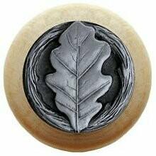 Notting Hill Cabinet Knob Oak Leaf/Natural Antique Pewter 1-1/2