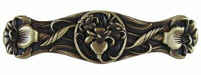 Notting Hill Cabinet Pull River Iris Antique Brass 3-7/8