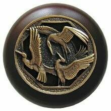 Notting Hill Cabinet Knob Crane Dance/Dark Walnut Antique Brass 1-1/2