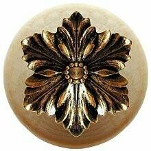 Notting Hill Cabinet Knob Opulent Flower/Natural Brite Brass 1-1/2