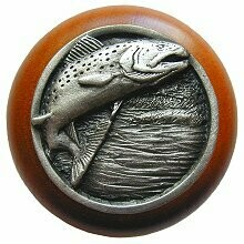 Notting Hill Cabinet Knob Leaping Trout/Cherry Antique Pewter  1-1/2