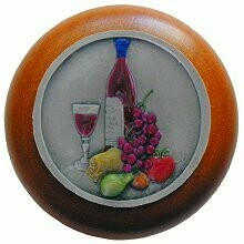 Notting Hill Cabinet Knob Best Cellar Wine/Cherry Pewter Hand Tinted  1-1/2