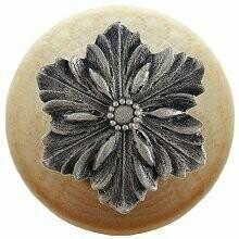 Notting Hill Cabinet Knob Opulent Flower/Natural Satin Nickel 1-1/2