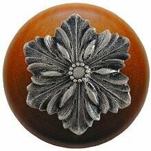 Notting Hill Cabinet Knob Opulent Flower/Cherry Satin Nickel 1-1/2