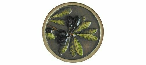 Notting Hill Cabinet Knob Olive Branch Brass Hand Tinted 1-5/16