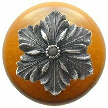 Notting Hill Cabinet Knob Opulent Flower/Maple Antique Pewter 1-1/2