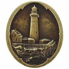 Notting Hill Cabinet Knob Guiding Lighthouse Antique Brass   1-1/4