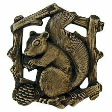 Notting Hill Cabinet Knob Grey Squirrel (Right side/faces left) Antique Brass  1-1/2