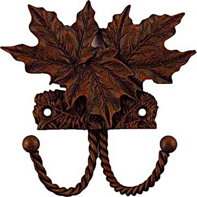 Sierra Lifestyles / Big Sky Cabinet Hardware Decorative Hook - Maple Leaf - Rust