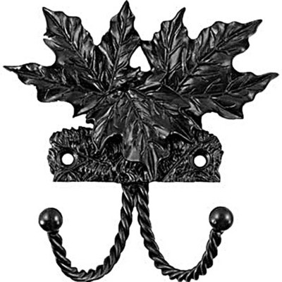 Sierra Lifestyles / Big Sky Cabinet Hardware Decorative Hook - Maple Leaf - Black