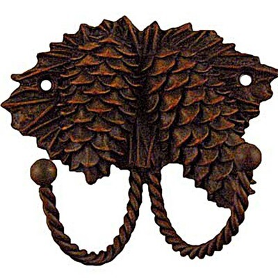 Sierra Lifestyles / Big Sky Cabinet Hardware Decorative Hook - Pinecone - Rust