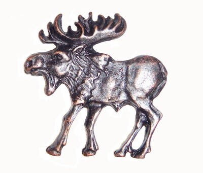 Buck Snort Lodge Hardware Cabinet Knob Walking Moose - Facing Left