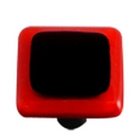 Hot Knobs Glass Cabinet Knob Black Brick Red Border