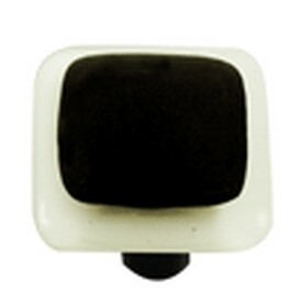 Hot Knobs Border Collection Glass Cabinet Knob  White Border Black