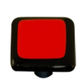 Hot Knobs Glass Cabinet Knob Black Border Brick Red