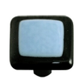 Hot Knobs Glass Cabinet Knob Black Border Powder Blue