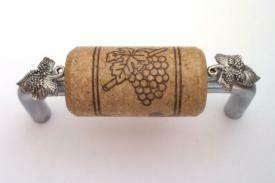 Vine Designs Brushed Chrome Cabinet Handle, walnut cork, silver leaf accents
