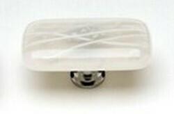 Sietto Decorative Glass Cirrus Cabinet Knob Vanilla & White Mardi Gras