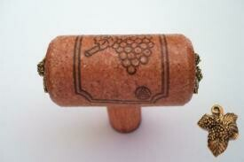 Vine Designs Cherry Stem Cabinet knob, matching cork, gold leaf accents