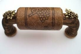 Vine Designs Espresso Cabinet Handle, matching cork, gold grape accents