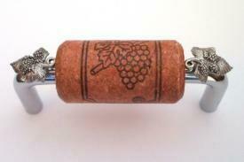 Vine Designs Chrome Cabinet Handle, cherry cork, silver leaf accents