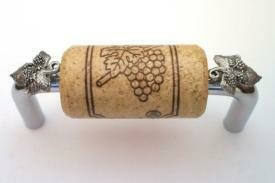 Vine Designs Chrome Cabinet Handle, natural cork, silver leaf accents