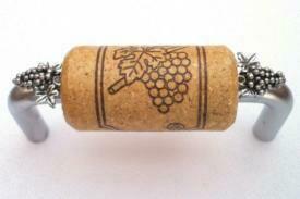 Vine Designs Brushed Chrome Cabinet Handle, oak cork, silver grapes accents